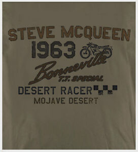 Steve McQueen Biker Motorcycle Triumph Bonneville Retro Print Putty T-shirt