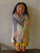 "Skookum Indian Doll Bully Good 6 1/2"" Wool Blanket, Fringed Pants, Red Shoes"