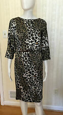 St John Dress Animal Print  Black White Tan Size 2, 4, 6 Long Sleeve
