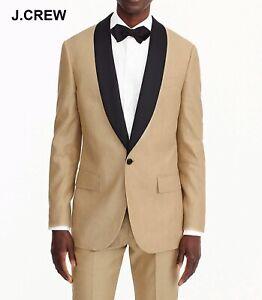 J.CREW Ludlow linen silk tuxedo shawl beige suit jacket blazer slim 46L 46 H9158