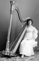 """1891-1894 Anita Cluss with a Harp Old Photo 11"""" x 17"""" Reprint"""