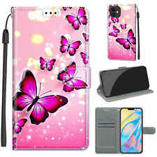 3D Pink Butterfly Painted Flip Card Holder Bracket Case For Various Phone Covers