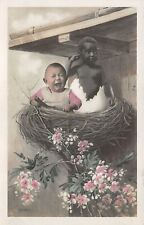 Vintage Postcard Black African American Baby in Egg White Baby Crying