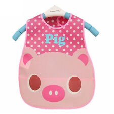 Kid Baby Waterproof Bibs Toddler Food Catcher Feeding Saliva Apron Cute Pink Pig
