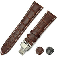 100% Genuine Leather Watch Band Strap Butterfly Clasp 18 20 22 24mm Black Brown