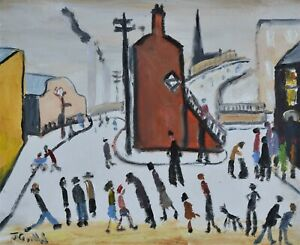 Superb John Goodlad Original Oil Painting - Busy Street Scene (Northern Art)