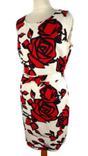 Hobbs 14 Off White Red Black Sleeveless Floral Dress Party Wedding Button Back