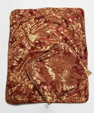 "Set Of 2 Queen Pillow Shams Red & Gold Embroidered 27x21"" w/ 3"" Flange"