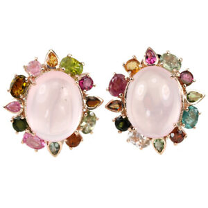35.50 CT. NATURAL AAA ROSE QUARTZ OVAL & TOURMALINE STELRING 925 SILVER EARRING