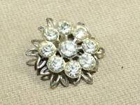 Vintage Art Nouveau Glass Rhinestone Filigree Flower Scatter Pin Brooch