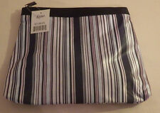 "Kirlins Makeup Cosmetic Bag Black White Pink Blue Lines 10.5"" x 8"""