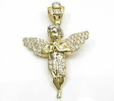 5 Grams Small Mens 10k Yellow Real Gold Praying Angel Baby Cherub Charm Pendant