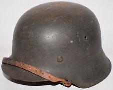 Original WWII German M42 CKL64 Helmet w/ Double Spliced Liner, Dome Stamp, Strap