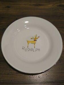 "Pottery Barn RUDOLPH 12"" Serving Plate The Reindeer Series Platinum Trim Japan"