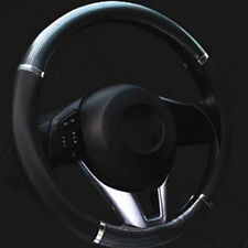 Durable 38cm Black Carbon fiber Leather Car Steering Wheel Cover All Seasons