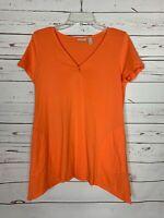 LOGO By Lori Goldstein QVC Brand Women's Sz S Small Orange Fall Tunic Top Shirt