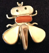Zuni Sensa Eustace Signd Bee Pin / Pendant Rare Stones Red Coral Cowrie Shell