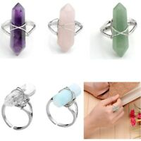 Adjustable Crystal Hexagon Healing Chakra Gemstone Bead Finger Ring Jewelry Gift