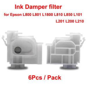 6Pcs Ink Damper filters for Epson L800 L801 L1800 L810 L850 L101 L201 L200 L210