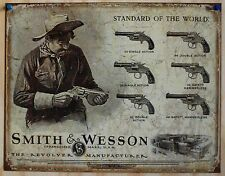 Vintage Replica Tin Metal Sign Smith & Wesson 32 38 44  Pistol Revolver s&w 1743