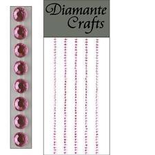 220 x 2mm Light Pink Diamante Self Adhesive Strips Rows Rhinestone Craft Gems