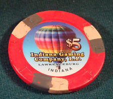 Lawrenceburg Indiana Gaming Company $5 Casino Chip Argosy Hollywood Blackjack