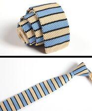 Men's Light Blue Gray Striped Tie Knit Knitted Necktie Slim Skinny Woven ZZLD033