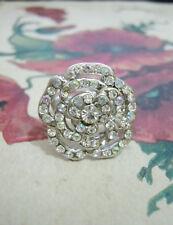 Womens Floral Fashion Jewelry Shiny Rhinestone Crystal Flower Charm Metal Ring