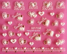 "Gridding Letter ""Smile"" Rhinestone Heart Star White Lace  Nail Stickers XF704"