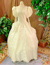 WHITE LACE WEDDING DRESS PEARLS SEQUINS ILLUSION NECKLINE BRIDAL GOWN SIZE MED