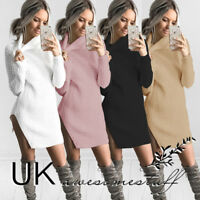 UK Womens Turtleneck Sweater Dress Ladies Knitted Split Jumper Dress Size 6 - 14