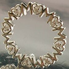 925 STERLING SILVER and CZ MUM Love Hearts Circle Design 22mm CHARM PENDANT 2.3g