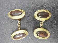 Vintage Pair of Chain Linked Gold Tone Cufflinks, Oval Fronts, Inset Black Stone