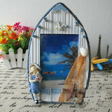 Mediterranean-style Handcrafted Nautical Decor Wood Photo Frame Blue Girl