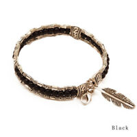 Men Fashion Jewelry Tibetan Silver Feather Bracelet Bangle Turquoise Bracelet