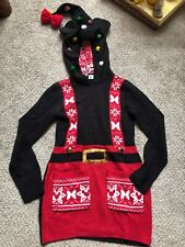 Wow Disney Parks Womens XS  Christmas Sweater Minnie Mouse Elf Ears Hat