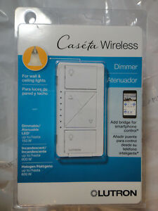 LUTRON CASETA WIRELESS DIMMER PD-6WCL-WH-R WHITE WALL CEILING  BRAND NEW, SEALED