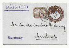 Ägypten 1907 - Drucksache nach Ansbach - Absender  !