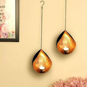Metal Wall Sconces Tealight Candle Holders Wall Hanging Home Art Set of 2 Diwali