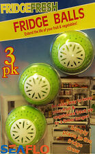 3 x FRESH FRIDGE BALLS FRESHENER ELIMINATES ODOUR REMOVES SMELLS