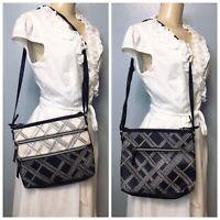 $149 The Sak Reseda Crossbody White Black Leather Bag Printed NWOT