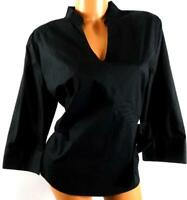 St. john's bay black plus size 3/4 sleeve v-neck bow detail strech  top XL