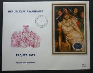 [SJ] Rwanda Paques 1977 Painting Art Jesus Christian Religious (miniature FDC)