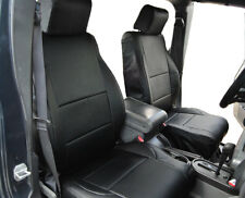 JEEP WRANGLER JK 2007-2012 4 DOORS BLACK S.LEATHER CUSTOM MADE FRONT SEAT COVER