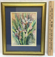 """Watercolor Iris Flower Pink Signed Nelson Painting Picture Framed Art Signed 12"""""""
