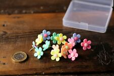 15 x Decorative Flower Push Pins Cork Board Thumb Tacks Office Assorted Colours