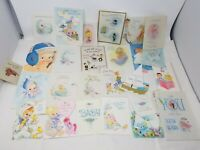 Lot 25 Vtg Hallmark New Baby Congratulations Cards used for Crafting die cut