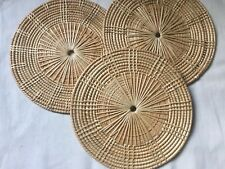 "3 Pieces Vtg Round Straw Rattan Wicker Placemats Trivet /Hot Pads  8.5"" Diameter"