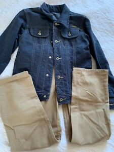 Lee Boy's Jacket and Pants size 7 US Jeans Blue Beige Good Condition!