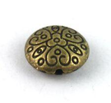 30 Antiqued bronze spiral heart flat round beads 19mm